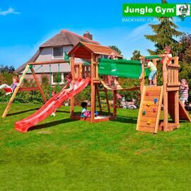 Детская площадка Jungle Gym Cottage + Swing Module Xtra + Bridge Module